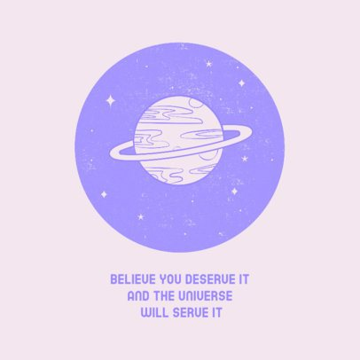 Facebook Post Generator with a Planet Illustration and a Quote 2539e