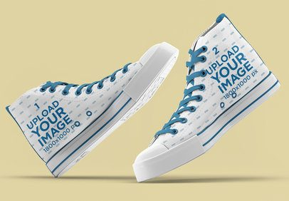 Mockup of a Pair of Sublimated Canvas Sneakers 3271-el1