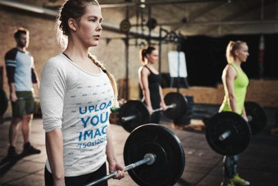 Long Sleeve Tee Mockup of a Woman Deadlifting at a Gym 34104-r-el2