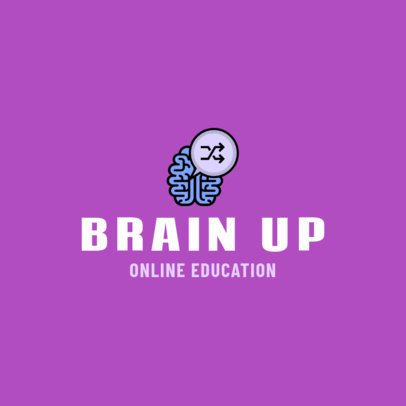 Minimalist Logo Creator for Online Courses with a Brain Graphic 1500c-el1