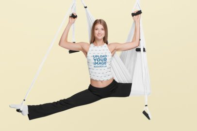 Sublimated Tank Top Mockup of a Woman Hanging in Aerial Silks 34594-r-el2