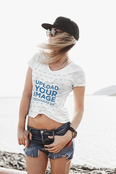 T-Shirt Mockup Featuring a Woman at a Windy Beach 35130-r-el2