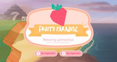 Twitch Banner Template with an Animal Crossing-Inspired Strawberry Graphic 2542a