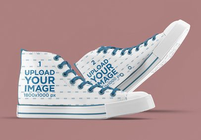 Mockup of a Pair of Canvas Sneakers with a Plain Background 3274-el1