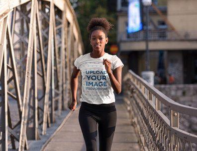 T-Shirt Mockup of a Woman Jogging in an Urban Setting 34445-r-el2