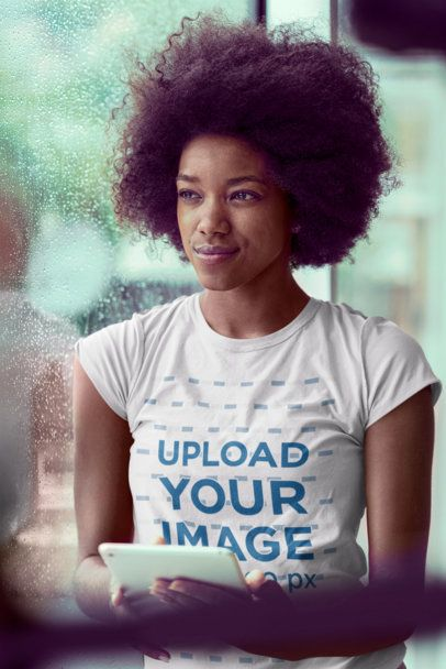 T-Shirt Mockup of a Woman Looking Through the Window 34348-r-el2