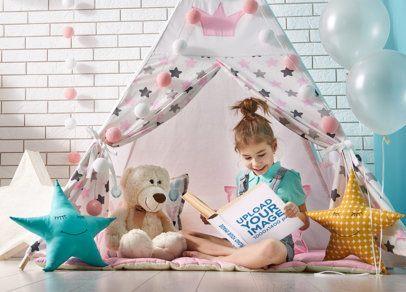 Book Mockup of a Girl Reading Under a Tipi 34672-r-el2