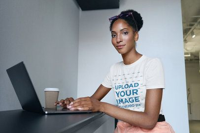 T-Shirt Mockup of a Woman Working from Home 34475-r-el2