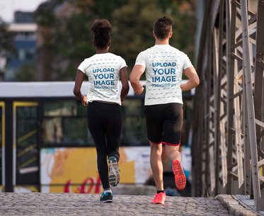 T-Shirt Mockup of a Woman and a Man out for a Run 34393-r-el2