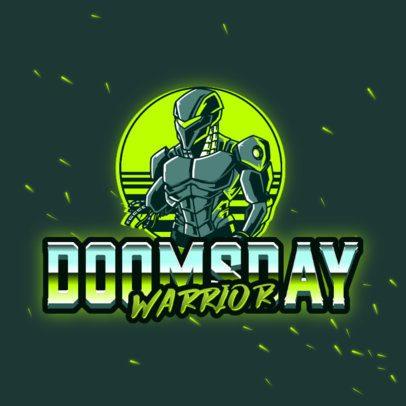 Logo Maker with a Retro-Futuristic Style Featuring a Warrior Cyborg 3279h