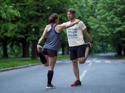 T-Shirt Mockup of a Runner Warming up with Her Partner 34297-r-el2