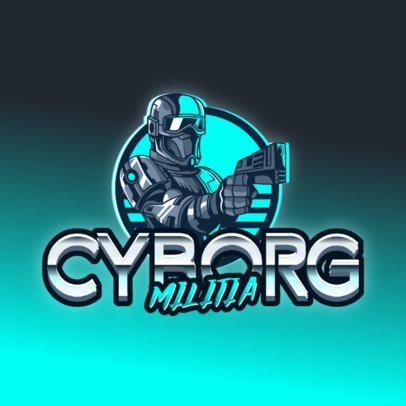 Retro-Futuristic Logo Generator Featuring a Cyborg Soldier Clipart 3279a