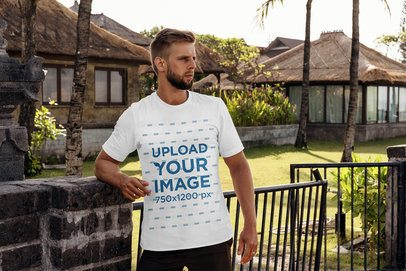 T-Shirt Mockup Featuring a Man at a Tropical Resort 4339-el1