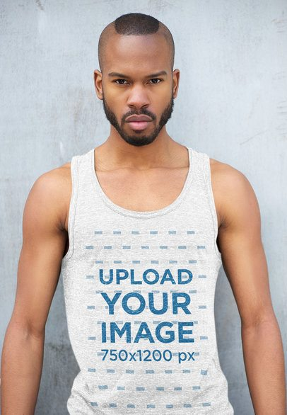 Mockup of a Serious Man Wearing a Heathered Scoop-Neck Tank Top 34643-r-el2