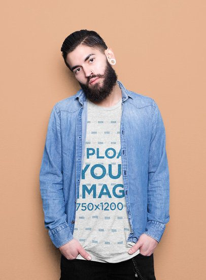Heathered T-Shirt Mockup of a Bearded Man with an Ear Expansion 34651-r-el2