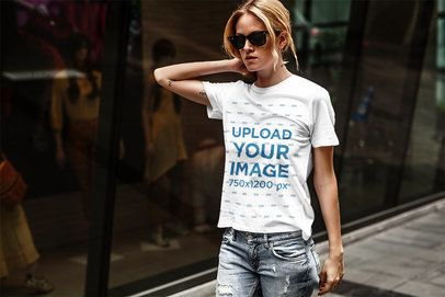 T-Shirt Mockup of a Blonde Woman Walking Down the Street 4319-el1