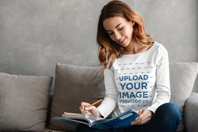 Long Sleeve Tee Mockup Featuring a Woman Taking Notes on Her Couch 34312-r-el2