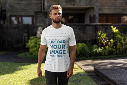 Mockup of a Cool Man with a Beard Wearing a Crewneck T-Shirt 4342-el1