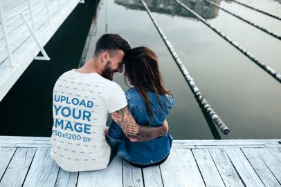 T-Shirt Mockup of a Lovely Couple Sitting by a Pond 34549-r-el2