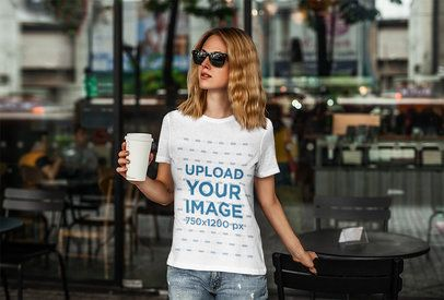 T-Shirt Mockup of a Woman at an Urban Cafe 4325-el1