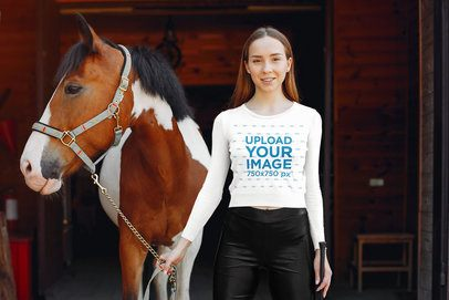 Long Sleeve Tee Mockup of a Woman Standing Next to a Horse 34354-r-el2
