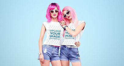 T-Shirt Mockup Featuring Two Women Posing with Pink Wigs 34968-r-el2