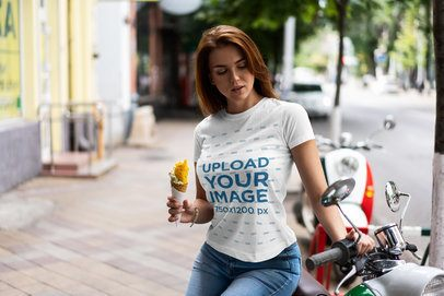 T-Shirt Mockup of a Woman Eating an Ice Cream on the Street 4293-el1