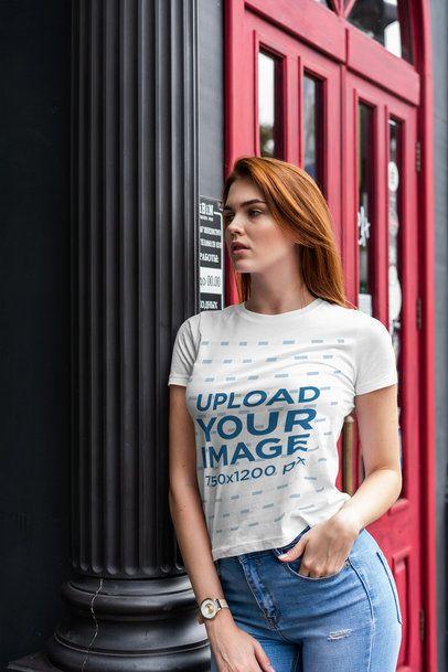 T-Shirt Mockup of a Woman Leaning Against a Dark Column 4295-el1