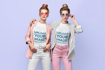 T-Shirt Mockup Featuring Twin Sisters Posing at a Studio 34966-r-el2