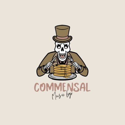 Musician Logo Maker Featuring a Skeleton Eating Pancakes 1628d-el1