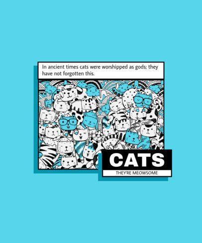 T-Shirt Design Creator Featuring Cat Doodles 1582b-el1