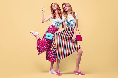 T-Shirt Mockup of Two Stylish Women in a Studio 34981-r-el2