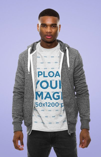 Mockup of a Man Wearing a Heather Tee at a Studio 34637-r-el2