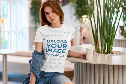 Mockup of a Trendy Woman Posing at a Coffee Shop 4302-el1