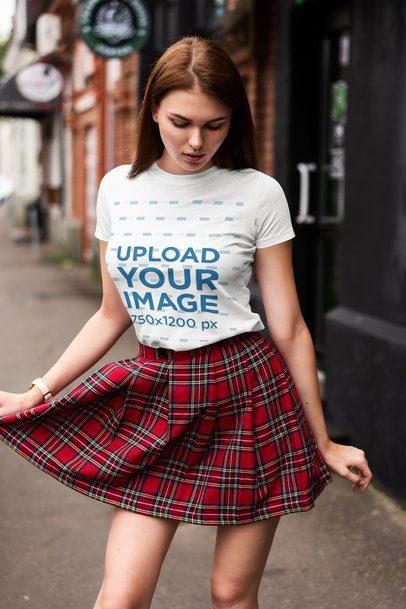 T-Shirt Mockup of a Woman with a Trendy Look 4303-el1