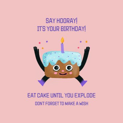 Facebook Post Maker with a Cartoonish Birthday Cake Character 2551f