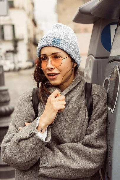 Mockup of a Woman Wearing a Wool Beanie on a Chilly Day 34452-r-el2
