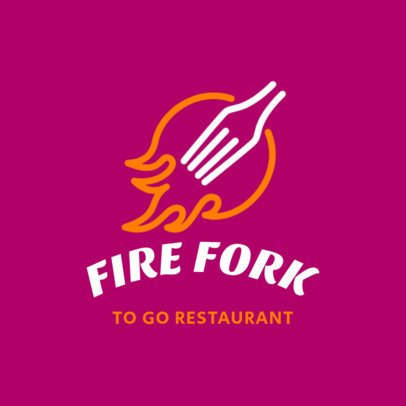 Restaurant Logo Maker Featuring a Flaming Fork Graphic 3298g
