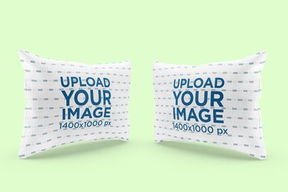 Mockup Featuring Two Customizable Pillows Against a Plain Color Backdrop 3254-el1