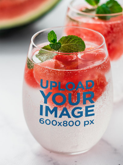 Stemless Wine Glass Mockup Featuring a Watermelon-Infused Drink 36452-r-el2