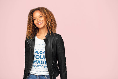 Heathered Tee Mockup of a Woman with Curly Hair Smiling at a Studio 34463-r-el2