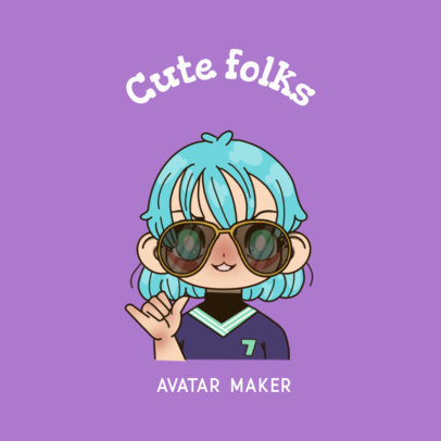 Kawaii-Styled Avatar Maker Featuring a Character with Sunglasses 3300l