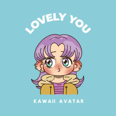Online Logo Creator with a Lovely Girl Avatar Featuring a Kawaii Style 3300n
