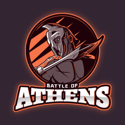 Gaming Logo Creator of a Spartan Warrior with a Sharp Sword 3297f