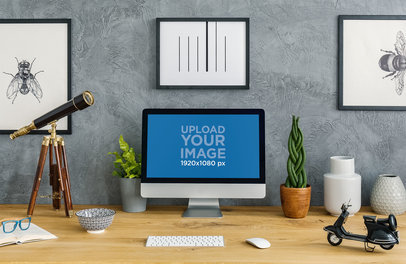 Mockup of an iMac Placed by a Decorative Telescope in a Home Office Setting 36562-r-el2