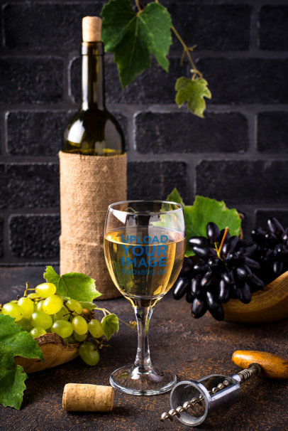 Mockup of a Wine Glass in an Elegant Setting 36647-r-el2