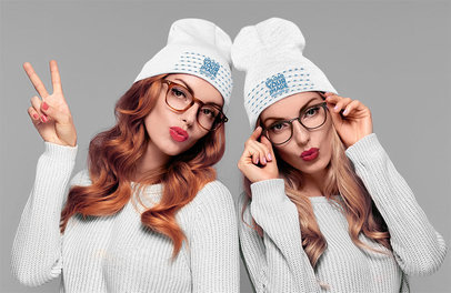 Beanie Mockup Featuring Twin Sisters in a Studio 34964-r-el2
