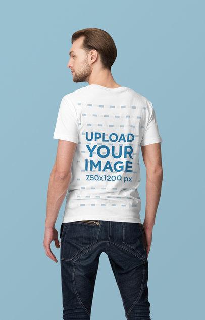 Back View T-Shirt Mockup of a Serious Man Posing at a Studio 4367-el1