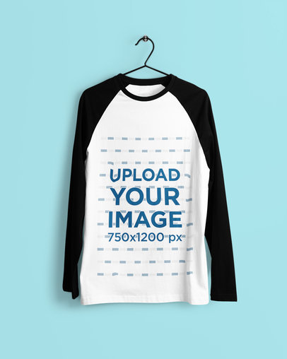 Mockup of a Raglan Long Sleeve Tee Hanging Against a Plain Background 4376-el1