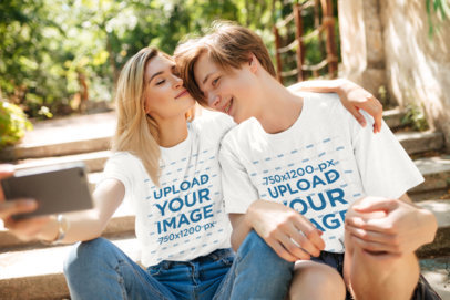 T-Shirt Mockup Featuring a Young Couple Taking a Selfie 34481-r-el2